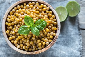 a bowl of roasted chickpeas