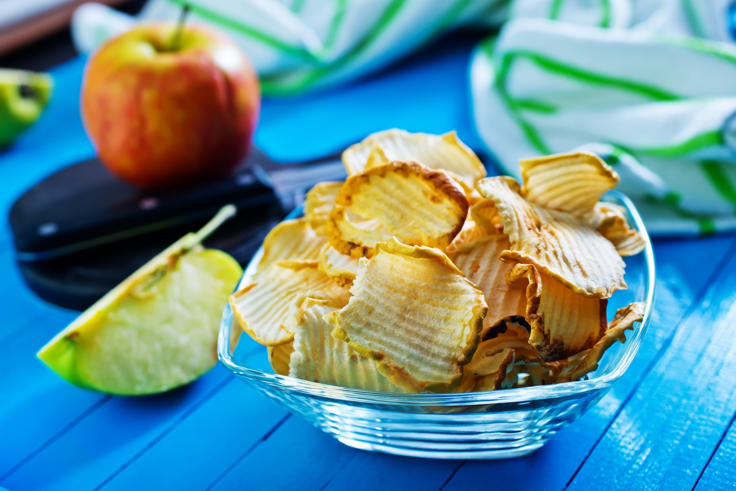 a bowl of apple chips