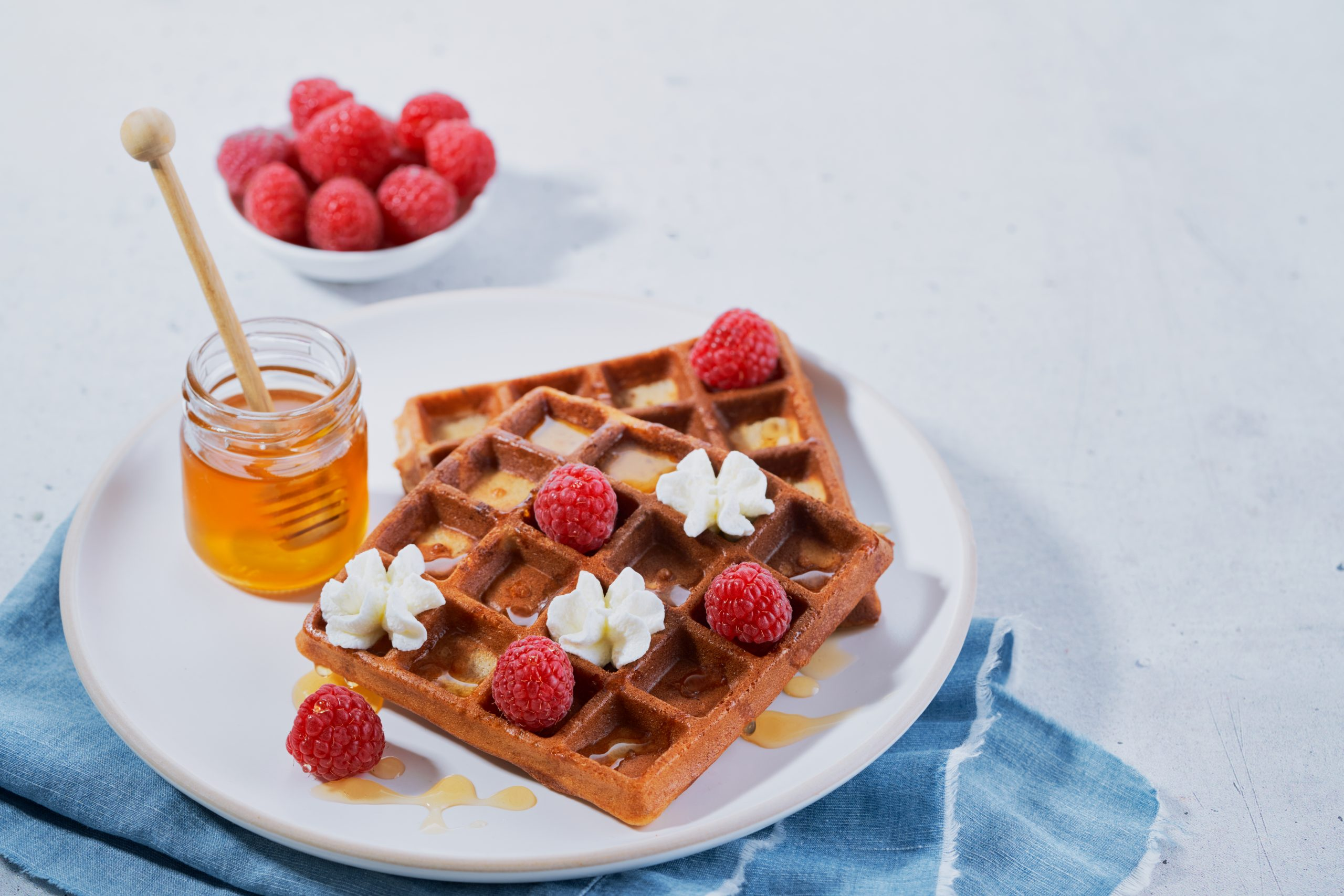 Belgian Waffles With Various Toppings
