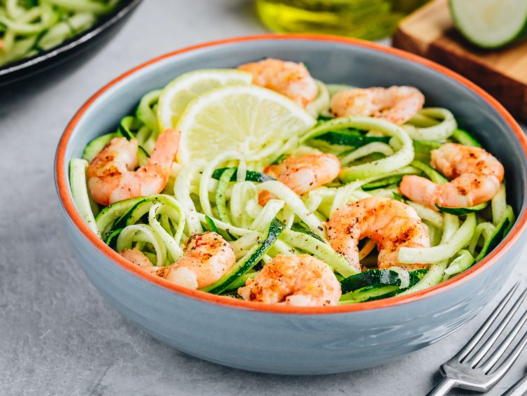 Low-Carb Zucchini Pasta With Lemon Garlic Shrimp